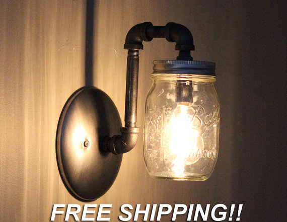 Quickly And Easily Replace Your Existing Wall Sconce Light Fixtures With This Industr Mason Jar Chandelier Mason Jar Light Fixture Mason Jar Lighting