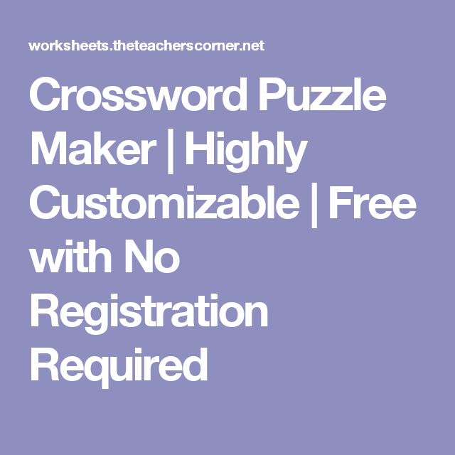 Crossword Puzzle Maker Highly Customizable Free With No