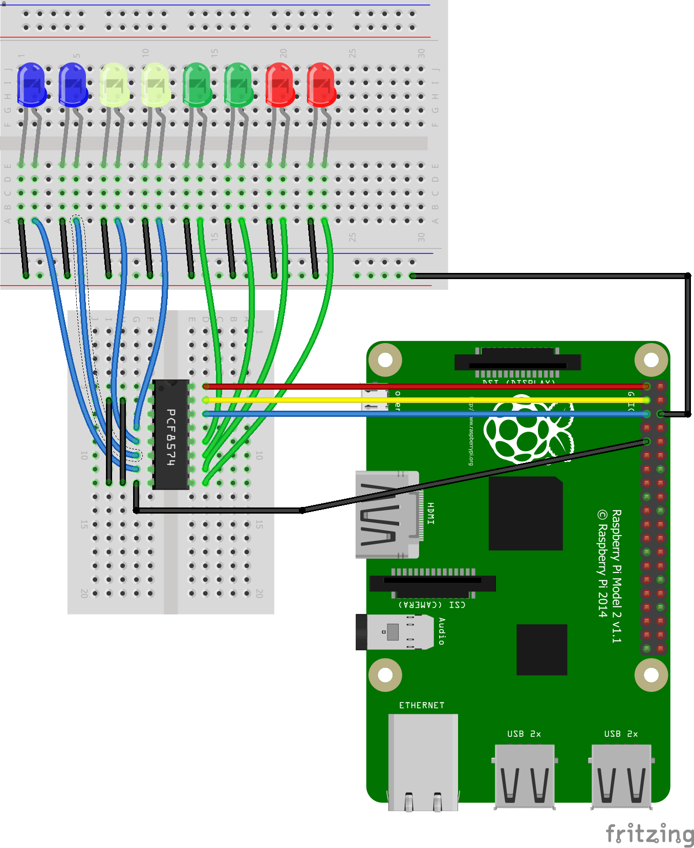 Raspberry Pi And Pcf8574 Example Raspberrypi Electronics Wiringpi Serial Arduino