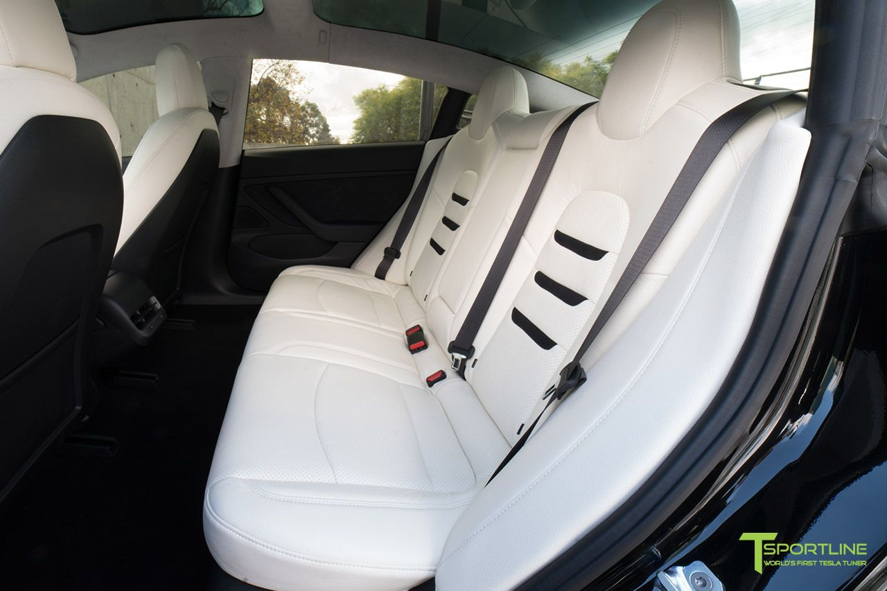 Tesla Model 3 Leather Seat Upgrade Kit in White Leather with Black Suede Insignia by T Sportline