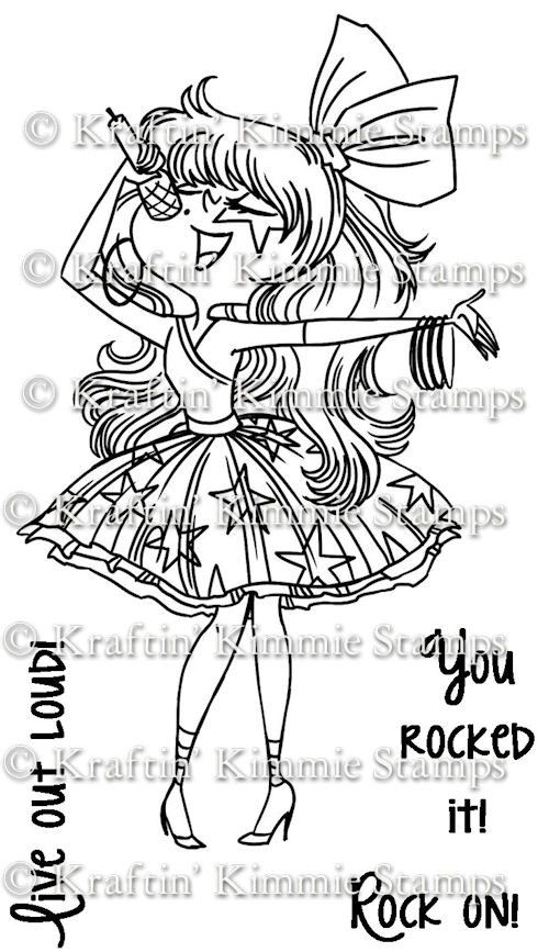Kraftin Kimmie Moonlight Whispers Rock Star Unmounted Rubber