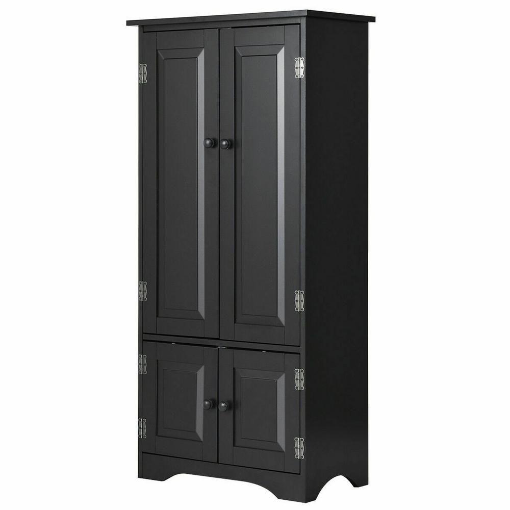 Costway Accent Black Storage Cabinet Adjustable Shelves Antique 2 Door Floor Cabinet Adjustable Shelving Storage Shelves
