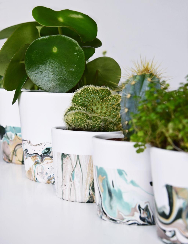 Stylische Blumentöpfe marmorieren mit nagellack ein stylisches blumentopf diy plants
