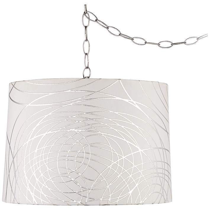 Abstract Silver Circles 16 W Steel Plug In Swag Chandelier Swag