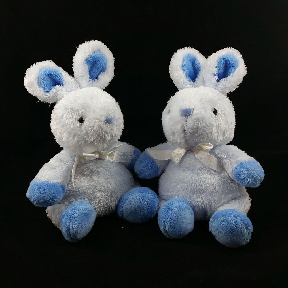 2 Carters Just One Year Blue Bunny Rabbit Lovey Plush Bean Bag Stuffed Toy Twins #Carters #ad