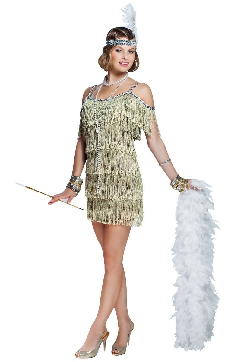 d848f5c0a1  p Head back to the 1920 s era in this gorgeous  strong champagne gold flapper  costume  strong  by Goddessey. This deluxe women s sexy flapper dress will  ...