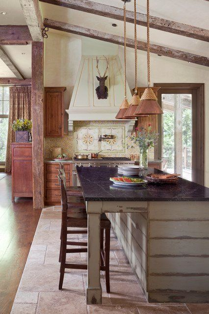 lovely kitchen interiors designed in the rustic style also new cabin rh pinterest