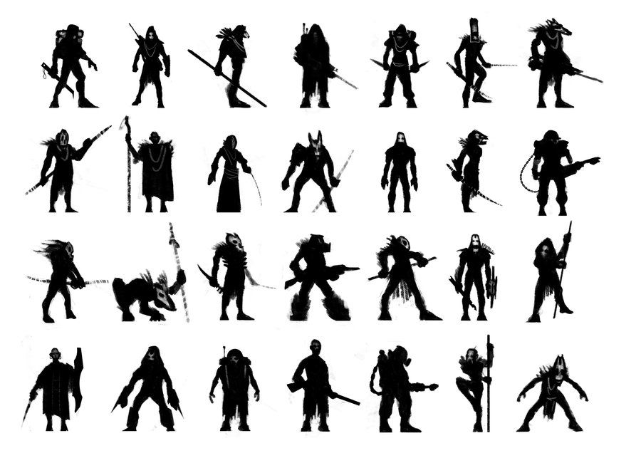 Character Design Silhouette : Character silhouettes by martinbailly viantart on