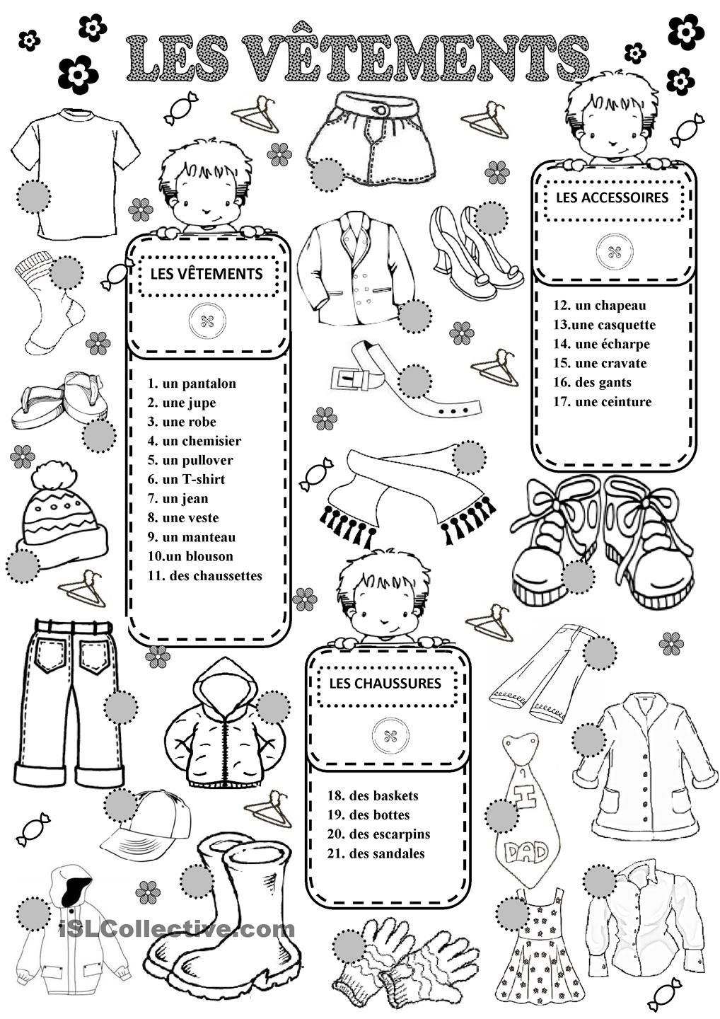 Les Vêtements | French worksheets, French outfit, French ...