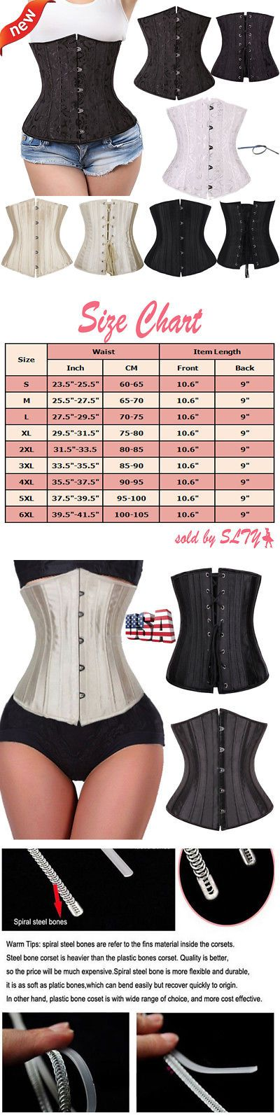 c5557480956 Corsets and Bustiers 11522  Black 24 Spiral Steel Boned Waist Training  Underbust Lace Up Corset Top Shaper -  BUY IT NOW ONLY   15.49 on eBay!