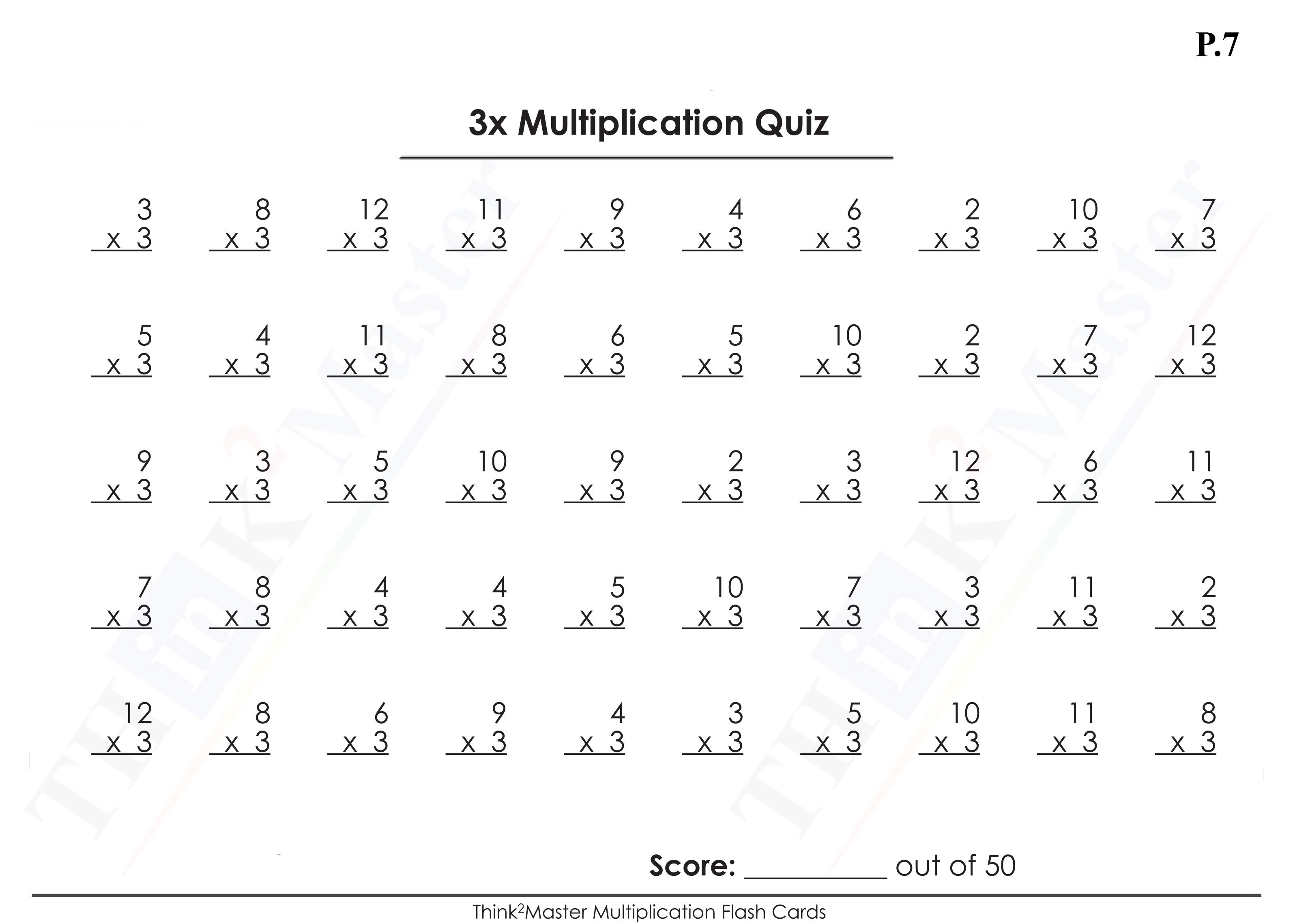 Free Printable 3x Multiplication Worksheet