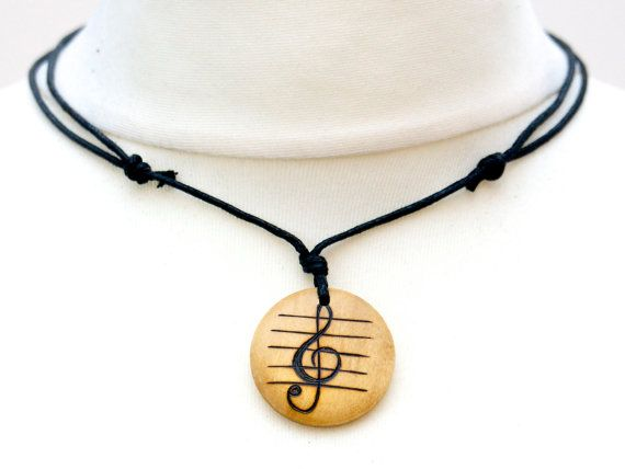 Treble Clef Necklace Music Jewellery Musicians Gift Music Choker Treble Clef Pendant Wooden Jewellery Natural Gifts Music Gifts #trebleclef