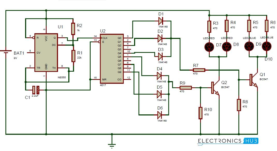 Police Lights Circuit Using 555 Timer And 4017 Decade