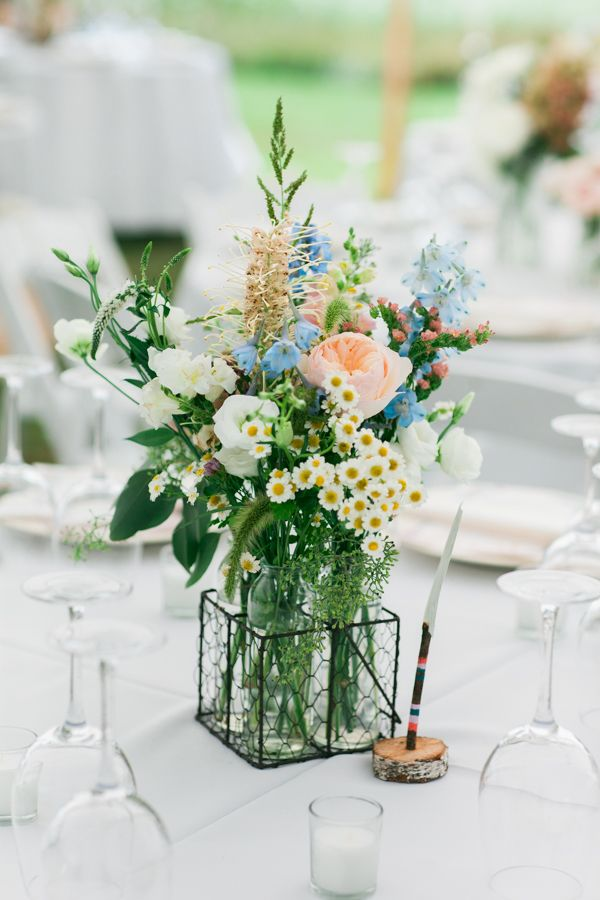 Bright Wildflower Centerpieces Leah Fisher Photography Seagrass