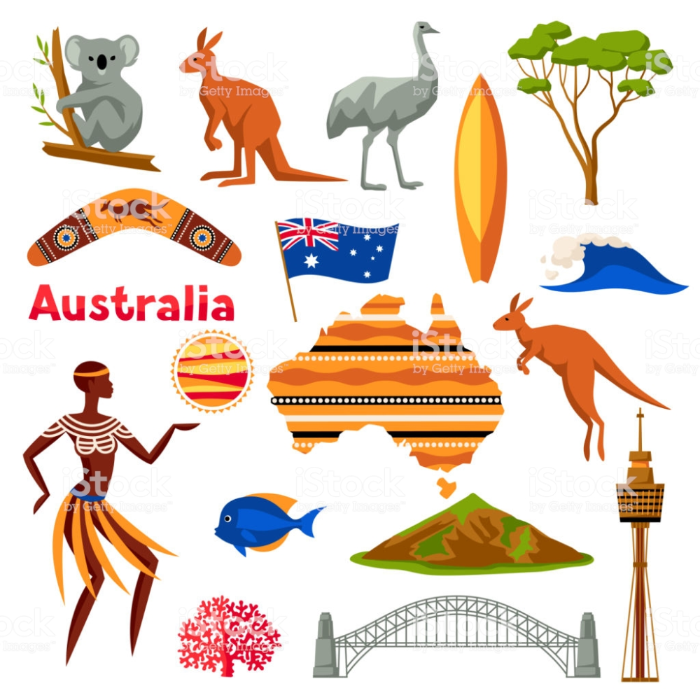Australia icons set. Australian traditional symbols and