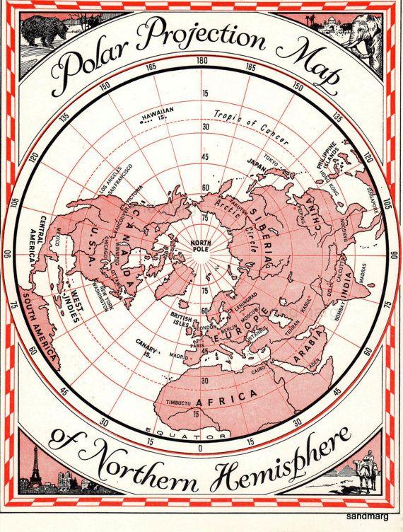 Polar Projection Map Northern Hemisphere Maps Pinterest - Usa northern hemisphere