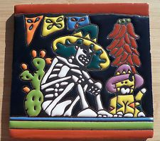 """Talavera Mexican tile 6"""" Day of the Dead Man Cactus Chili Peppers Cat Sombrero"""