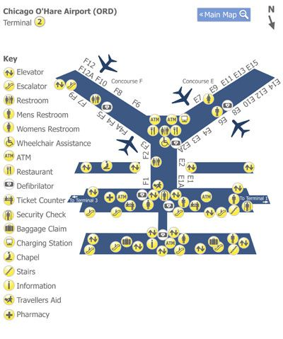 Chicago O Hare Airport Guide Chicago O Hare Airport Terminal Maps Airport Map Of Terminal 2 At Chicago Ord Guides To Us And International Airports By
