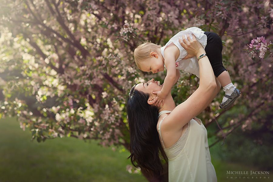Mommy And Me With The Cherry Blossom Tree Edmonton Family Photographer Michelle Jackson Photography Edm Cherry Blossom Tree Family Photographer Mommy And Me