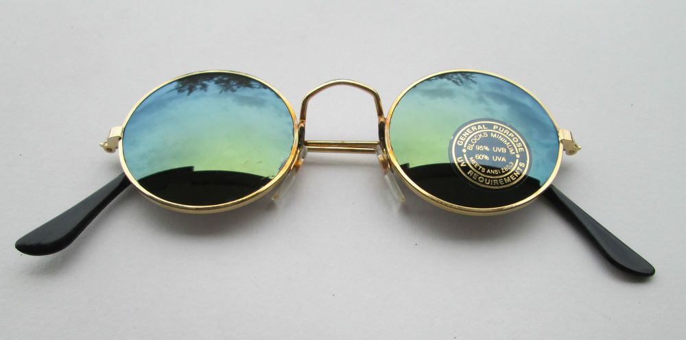 Retro Sunglasses Style Mirror Glasses 70s Round Hippie Goa Rainbow Colour nr. 1
