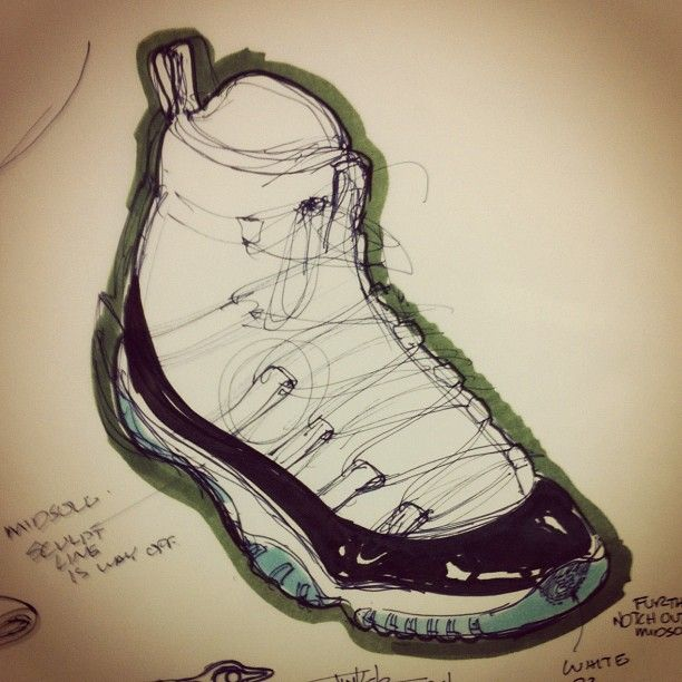 Original Sketch of THE Air Jordan XI by the man himself...Tinker Hatfield