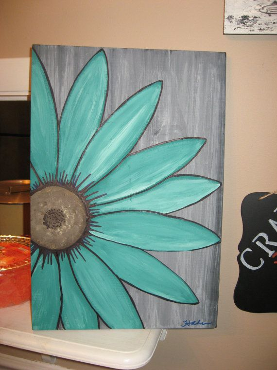 Margarita flor turquesa pintura arte de pared de madera for Pintura turquesa pared