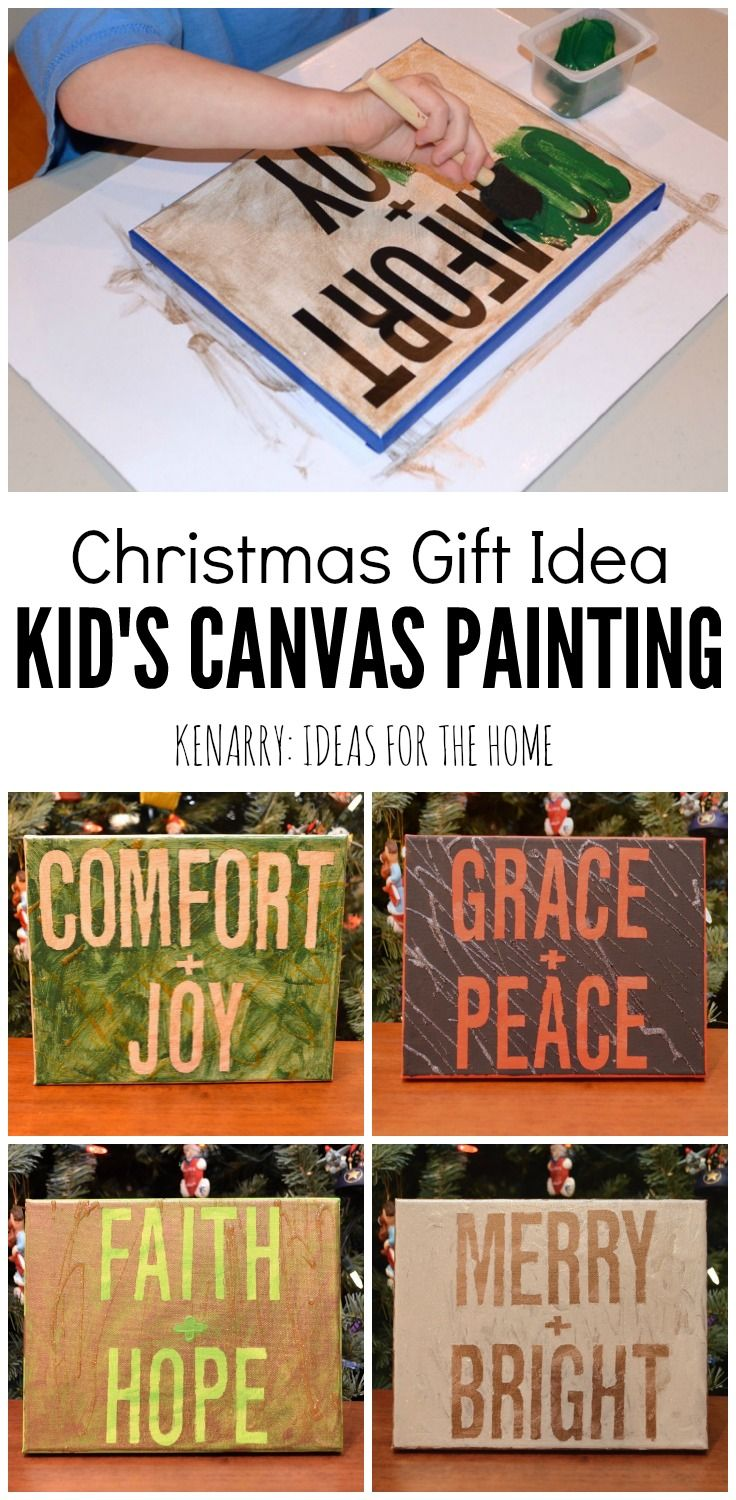 Canvas Craft Ideas For Kids Part - 41: Kidu0027s Canvas Art Painting: An Easy Christmas Gift Idea