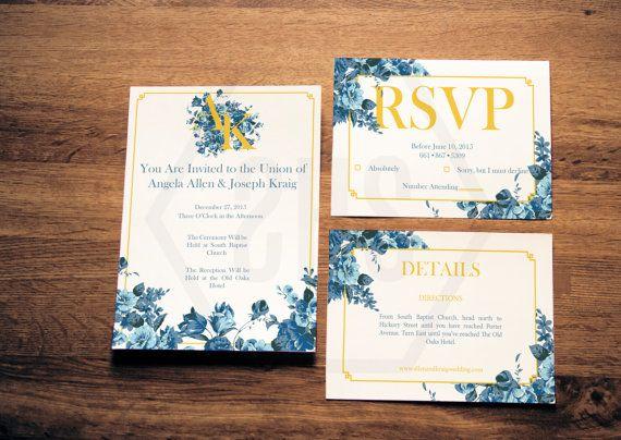 Printable Floral Monogram Wedding Invitation by SmittenHouseStudio, customizable