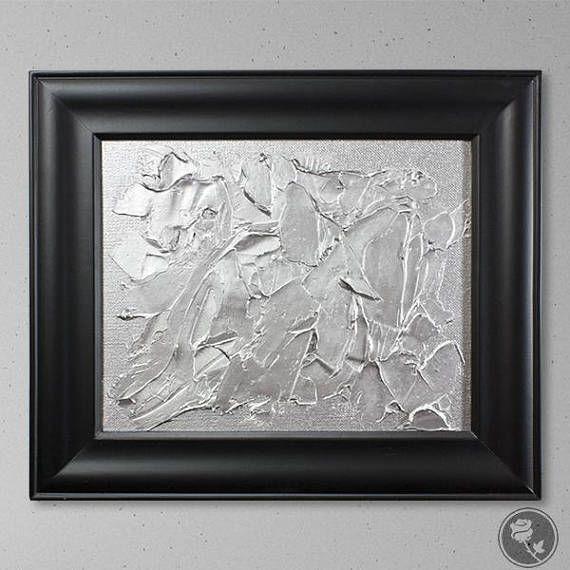 Silver Painting Black Framed Art Metallic