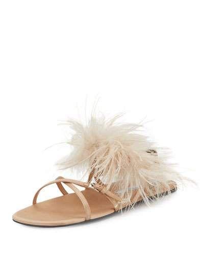 44d0741b574 X3KEY Prada Feather-Embellished Crisscross Flat Sandal