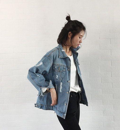 Celebrity Streetwear Denim Jacket Long Sleeve Frayed Loose