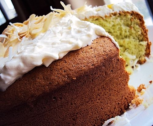 Pandan Sponge Cake with Shredded Coconut Frosting - Fuss Free Cooking