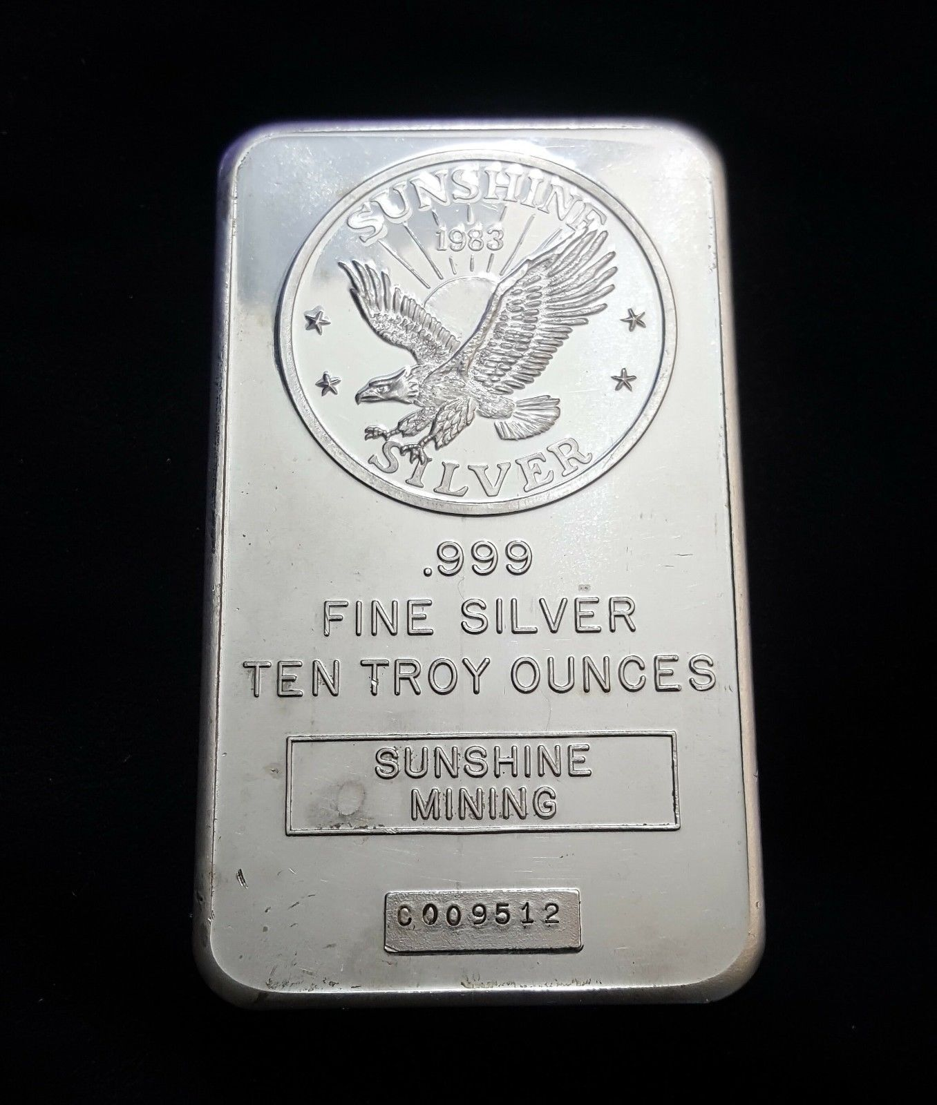 10 Troy Oz 999 Fine Silver Bullion Bar Sunshine Mining Flying Eagle 1983 Nice Goldbullion Gold Bullion Bars Gold Investments Silver Investing