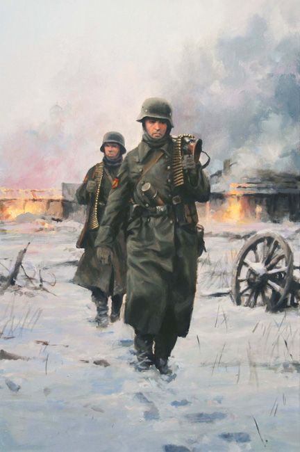 """250.ª División de Infantería de la Wehrmacht conocida como """"División Azul"""", 250 Infanterie-Division also known as """"Blaue Division"""" in the Ostfront. By Ferrer Dalmau. The name """"Blue Division"""" is because the blue color of the shirt worn under the Wehrmacht uniform by the spanish volunteers from the Falange Española (spanish political party)."""