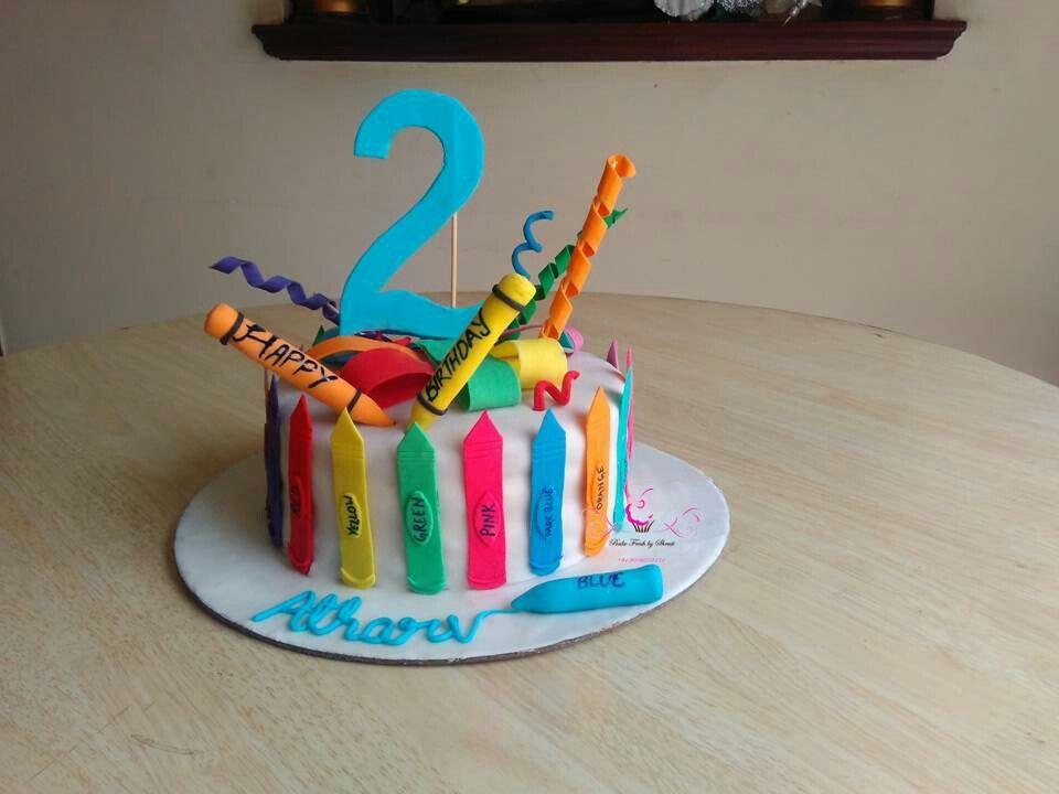 Crayon cake  #cakeforkids #colors #crayons #cake #secondbirthday #babyturnstwo
