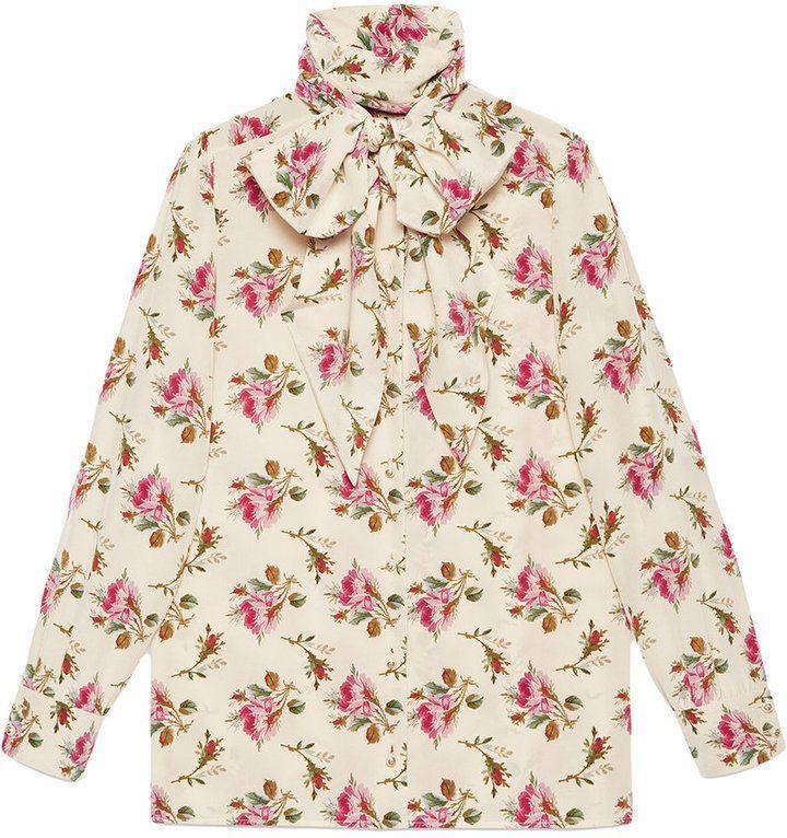 b79533028 Gucci Rose print silk shirt in 2019   Products   Shirts, Tops, Gucci ...