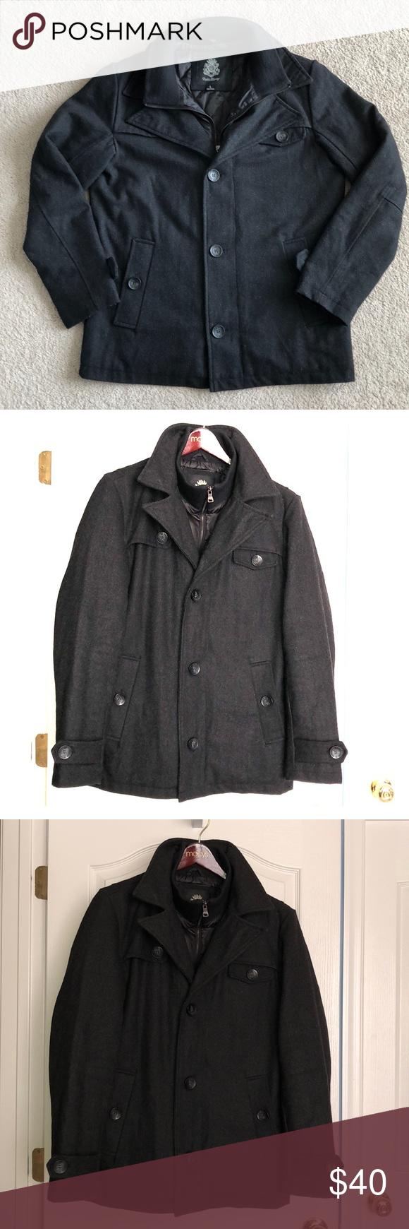 Men S Wool Blend Pea Coat Peacoat Laundry Jackets Wool Blend [ 1740 x 580 Pixel ]