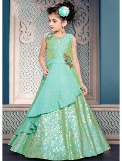 c6213faabfae3 Party Wear Pista Green Silk Embroidery Work Kids Gown | manashvi ...
