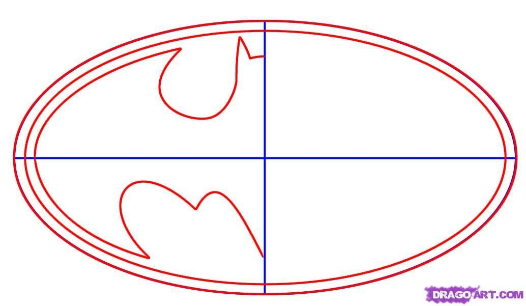 Batman Symbol Template How To Draw Batman Logo Step 2 Button
