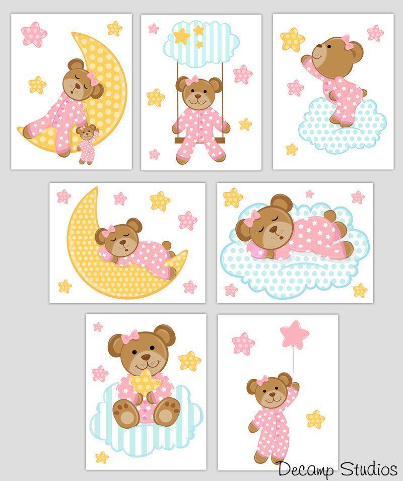 Baby Girl Nursery Teddy Bear Wall Art Prints Decals Moon Star Kids Room Stickers