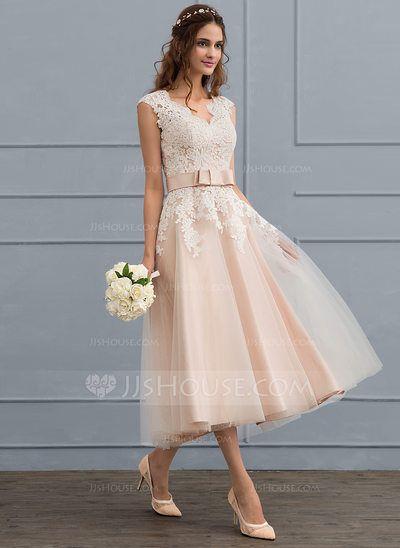 US$ 144.49] A-Line/Princess V-neck Tea-Length Tulle Wedding Dress ...