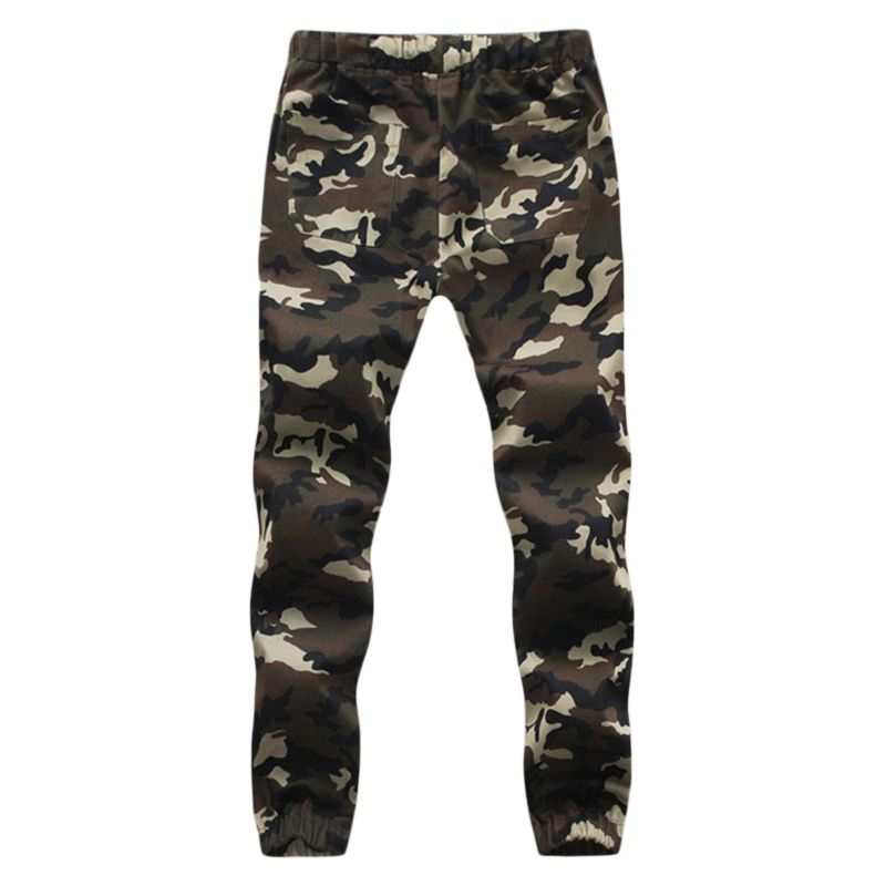 Details about Men's Elastic Waist Military Cotton Cargo Pants Combat Camo Army Style Trousers