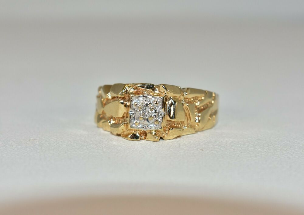 10 K Yellow Gold 025 Ct Tw H Si2 White Diamond Gent S Nugget Ring Size 10 4 4 G Nugget Size 10 Rings Gold Nugget Ring Rings For Men