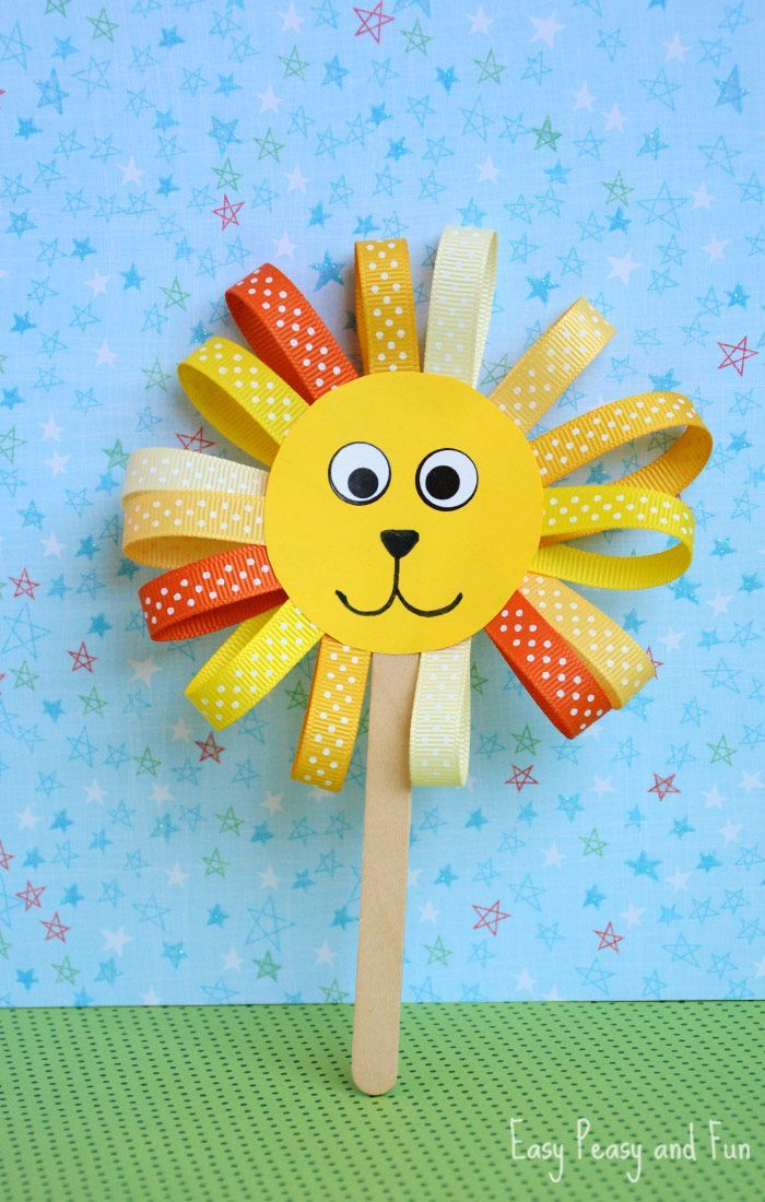 Easy Art And Craft Ideas For Kids Part - 29: Circus Birthday Theme Decor Or Craft For Younger Children. Ribbon Lion  Puppet Craft - Lion Crafts For Kids - Easy Peasy And Fun