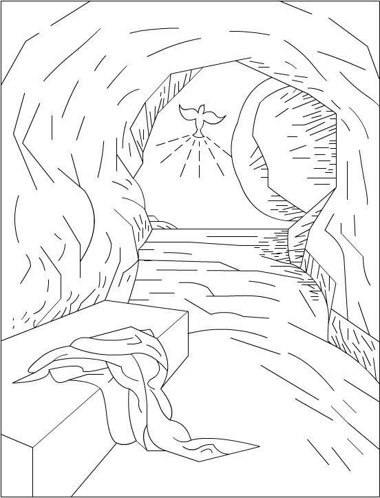 Open Tomb Clip Art Jesus Is Risen Empty Tomb Coloring Page
