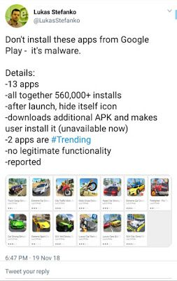 Google removed 13 applications from its Play Store How