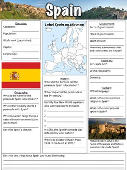 Map Of Spain To Label.Spain Worksheet Country Resources For Middle School Geography