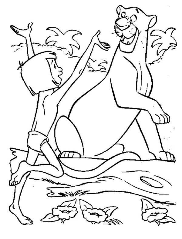 the jungle book mowgli is happy meet bagheera in the jungle book coloring page