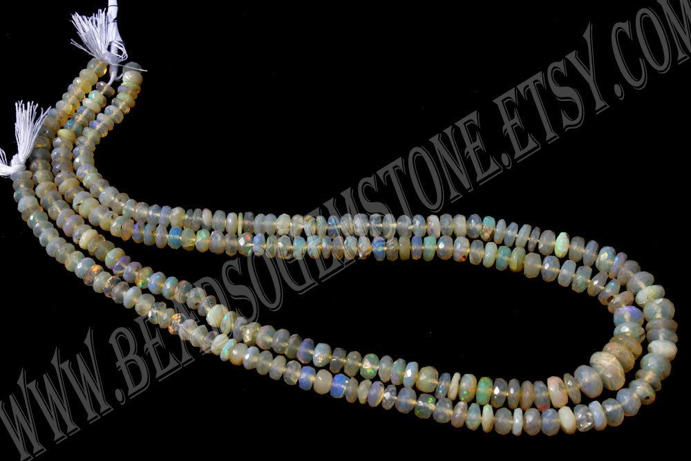Ethiopian Opal Faceted Roundel (Quality A) / 5 to 7 mm / 10 to 12 Grms / 36 cm / ET-098 by beadsogemstone on Etsy