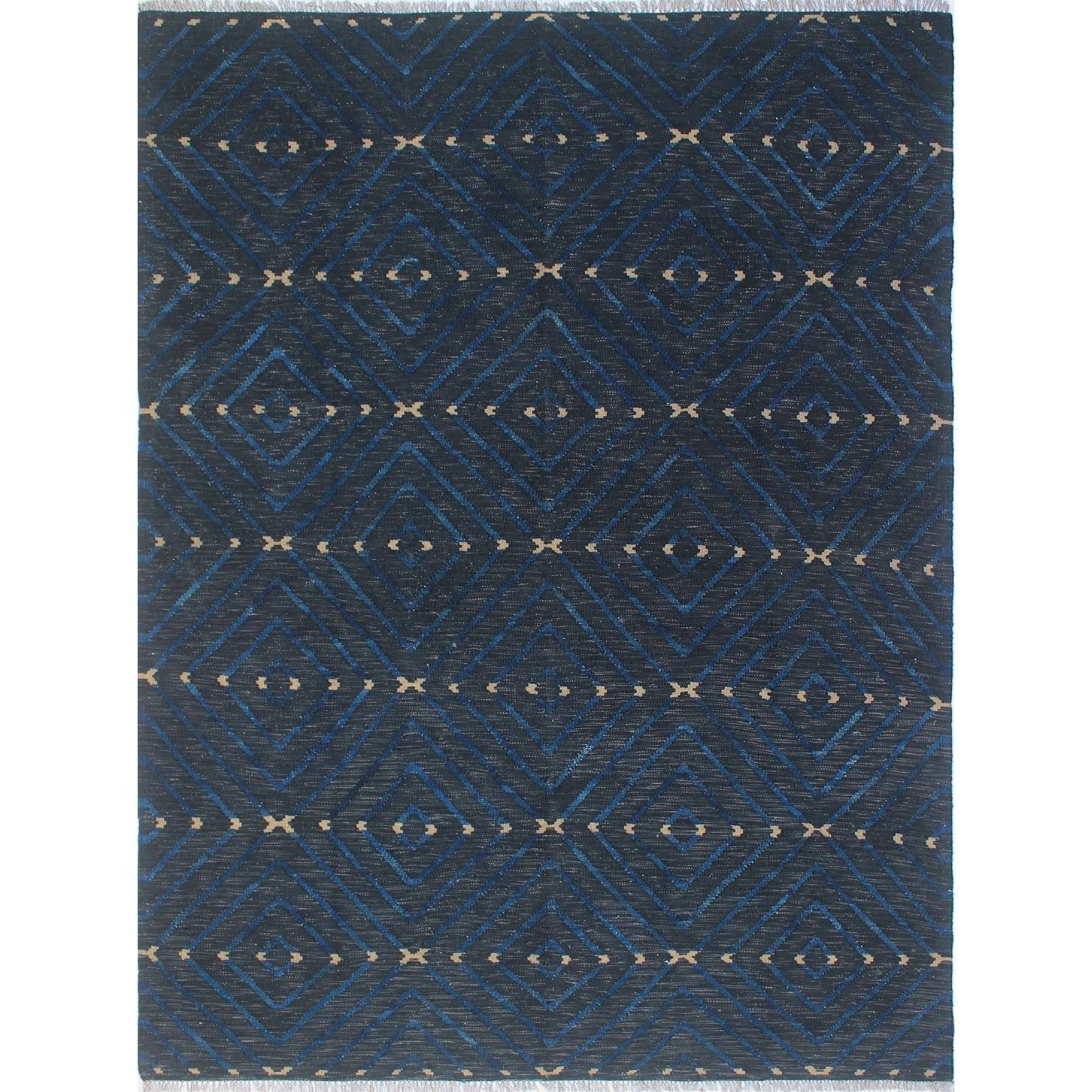 Winchester Zahida Black/Blue Rug (5'10 x 7'10), Size 6' x 8' (Wool